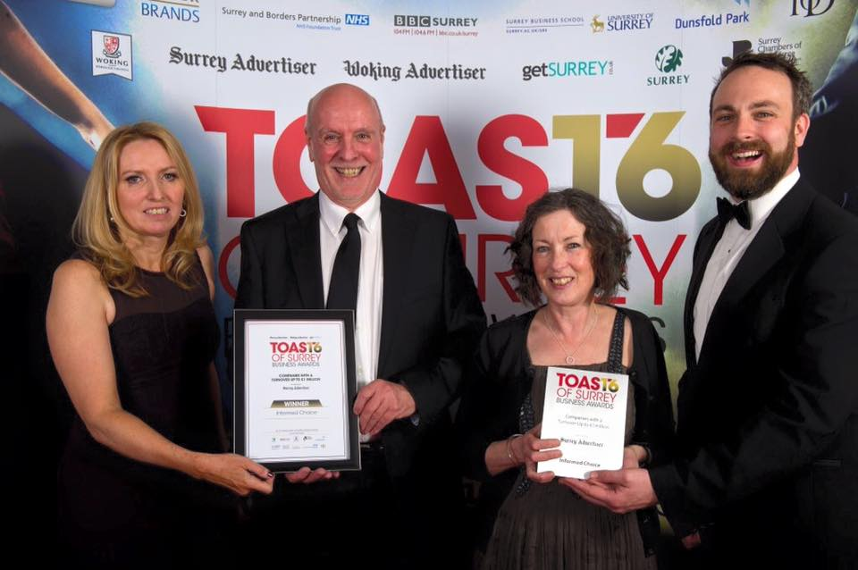 We won! Toast of Surrey Business Awards 2016
