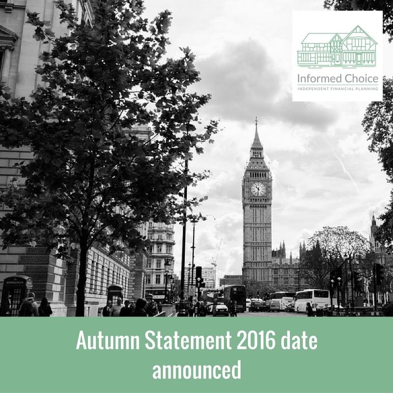 Autumn Statement 2016 date announced