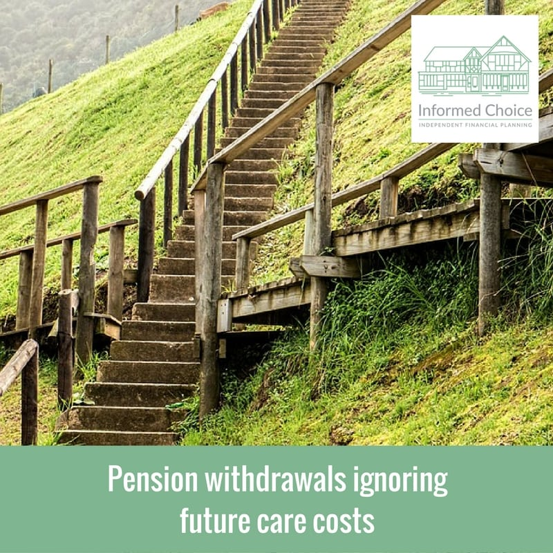 Pension withdrawals ignoring future care costs
