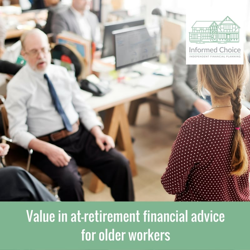 Value in at-retirement financial advice for older workers