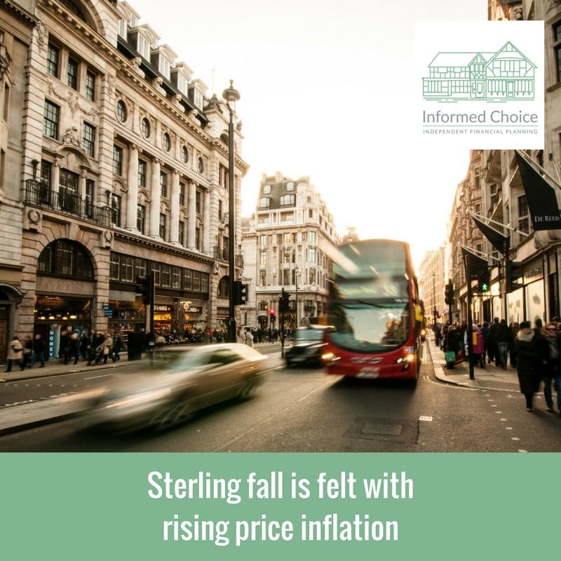 Sterling fall is felt with rising price inflation